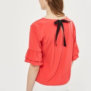 Topshop Ruffled Sleeves Blouse with Bow